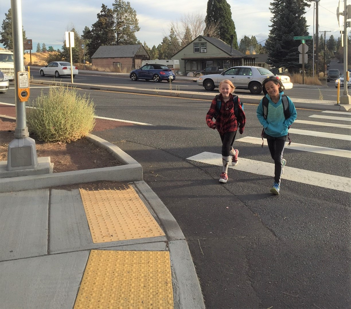 Children crossing in crosswalk