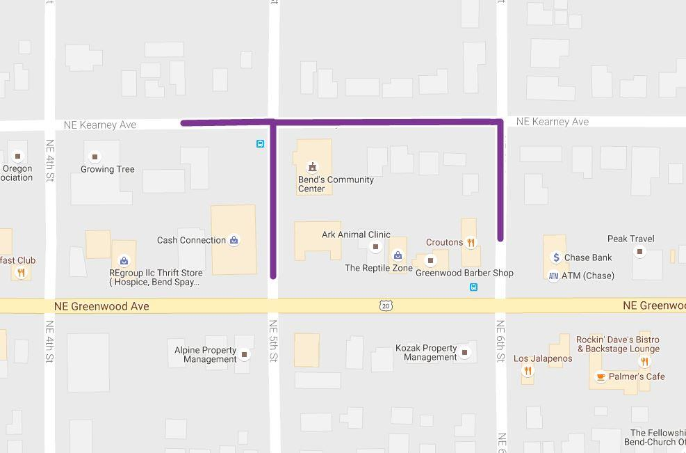 Map highlighting sections of NE Kearney Avenue, NE 5th Street, and NE 6th Street to be altered by project
