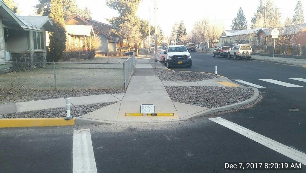 newly constructed curb ramps and curb extension on northwest corner of NW Broadway and NW Delaware Intersection