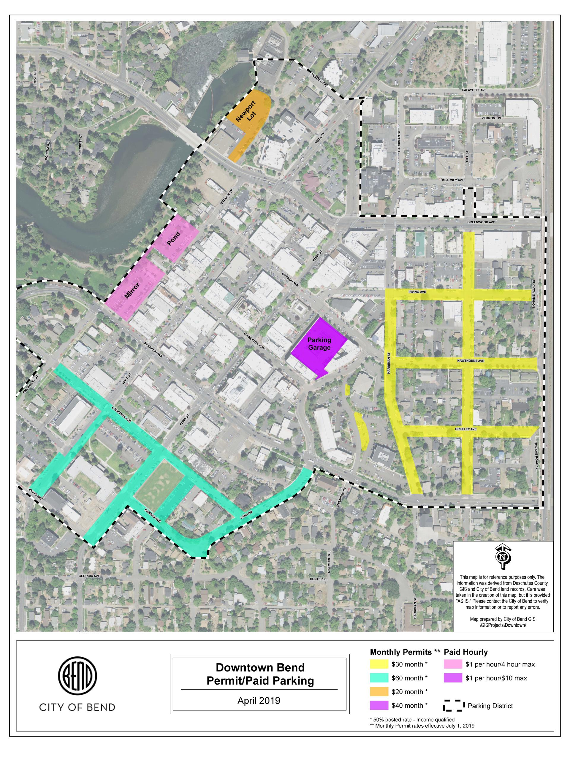 Downtown Permit Paid Parking Map rev 4/30/19