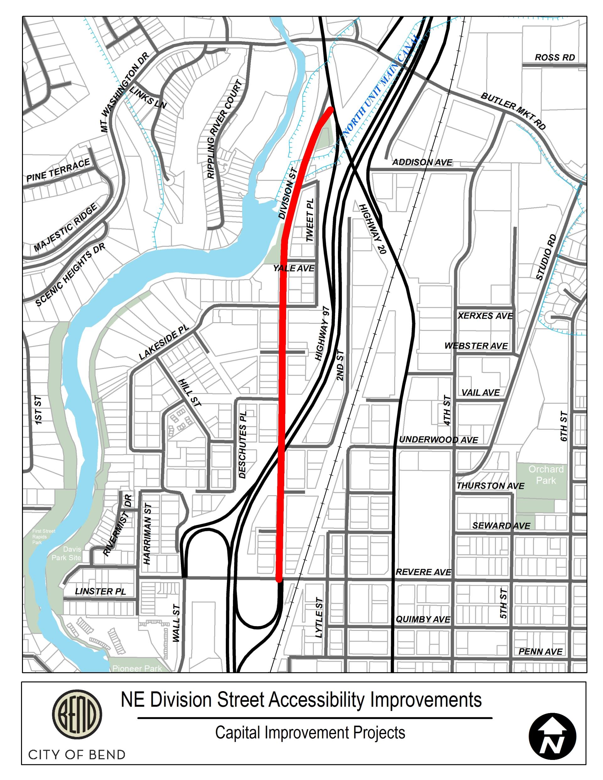 2019 Division Street Project Limits Map