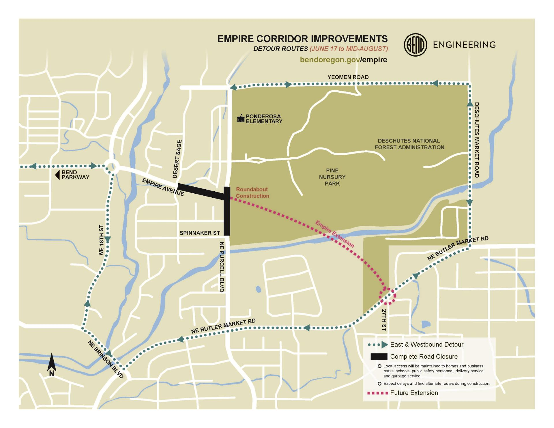 Empire Corridor Horizontal Detour Maps June 17