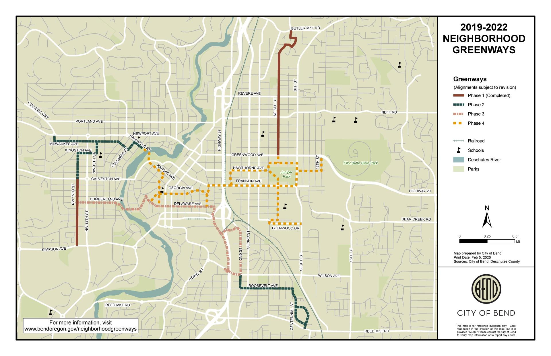 Map showing proposed Neighborhood Greenway routes and phasing