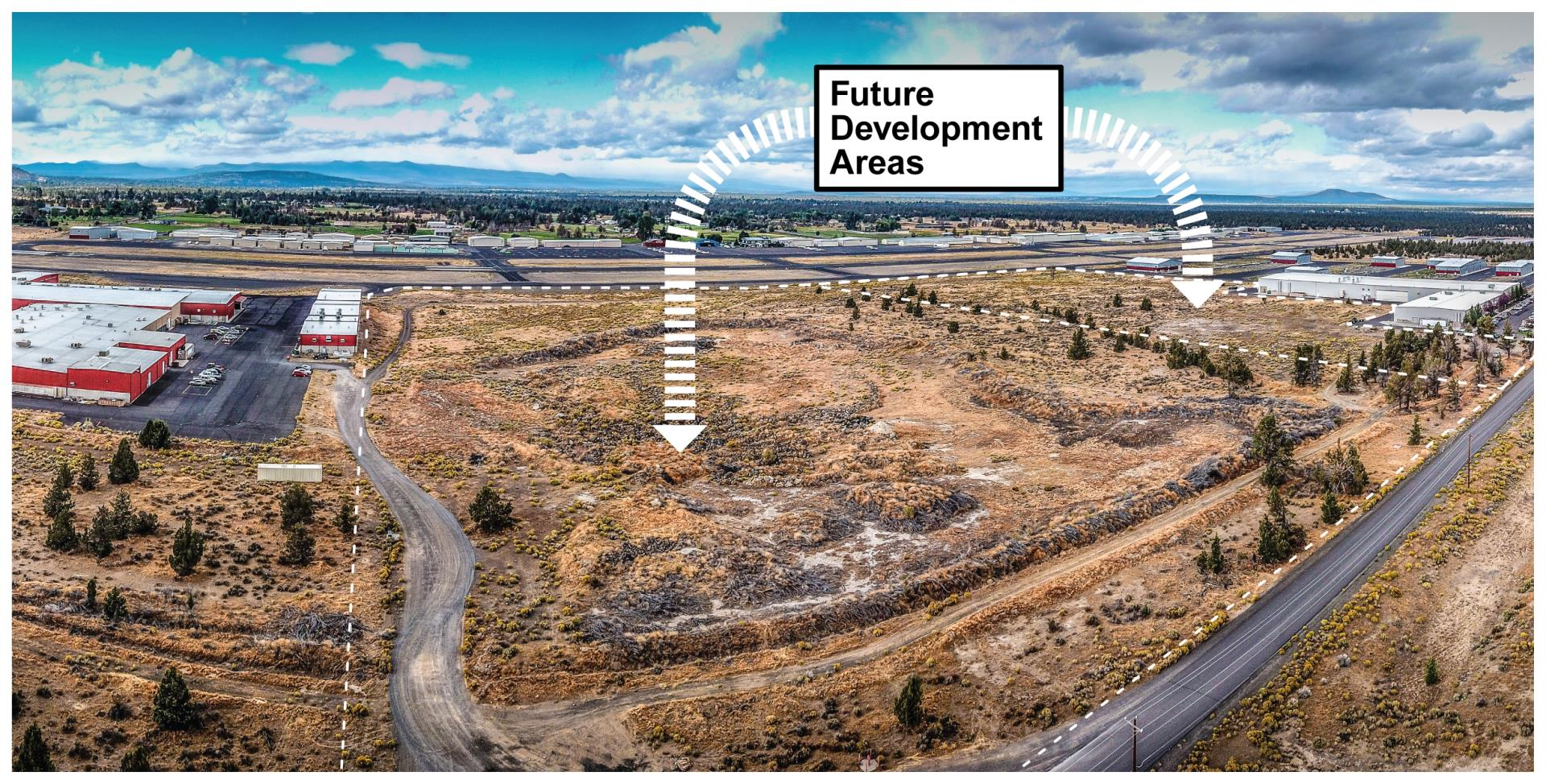 Aerial photo showing future development areas at the Bend Municipal Airport.