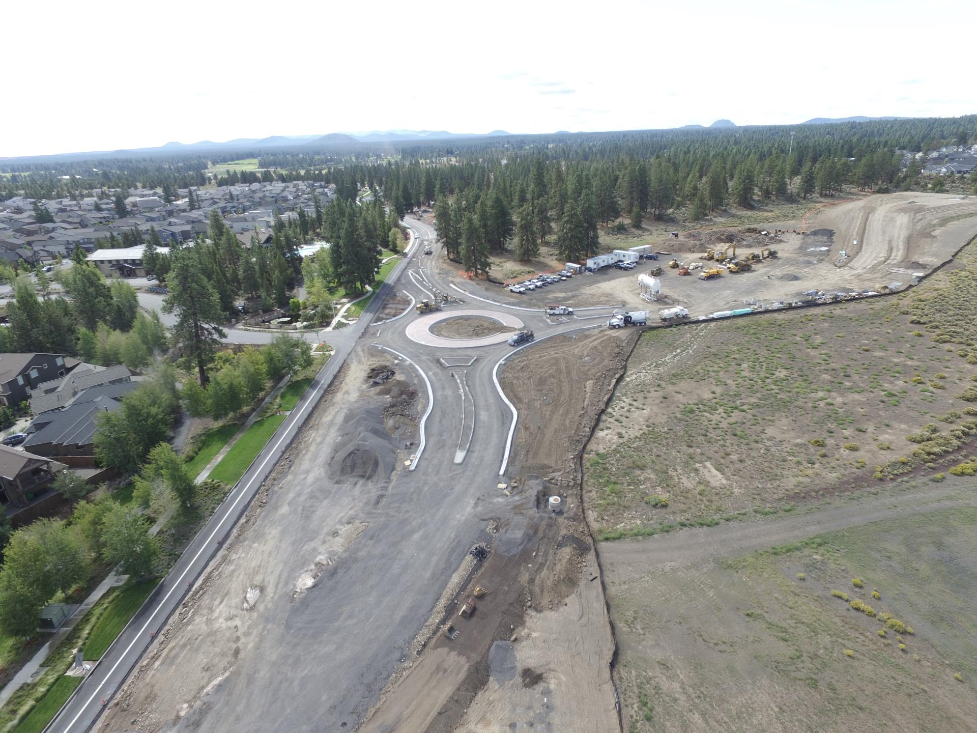 Aerial photo of the 15th Street roundabout construction