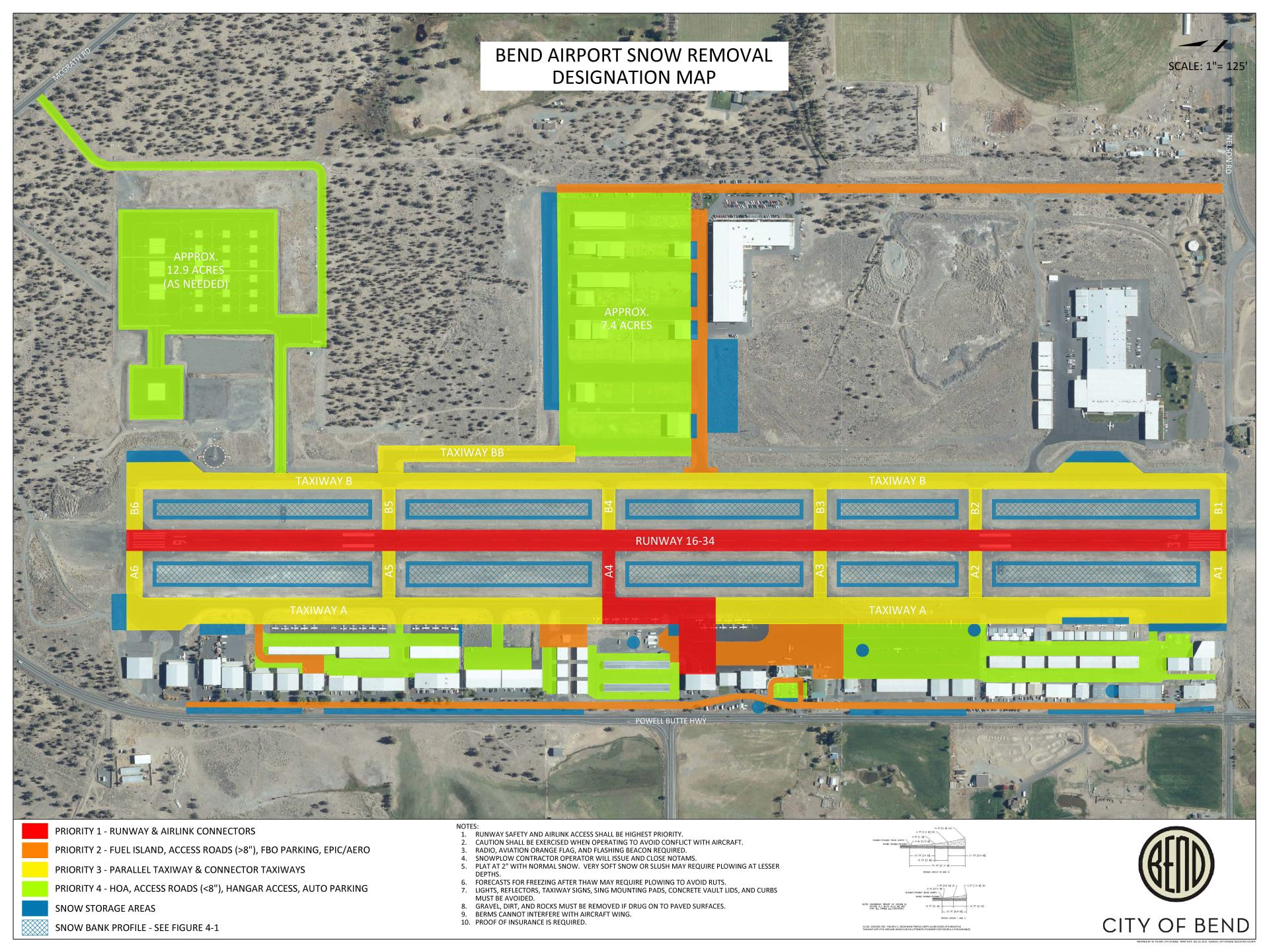 Bend Airport Snow Removal Designation Map