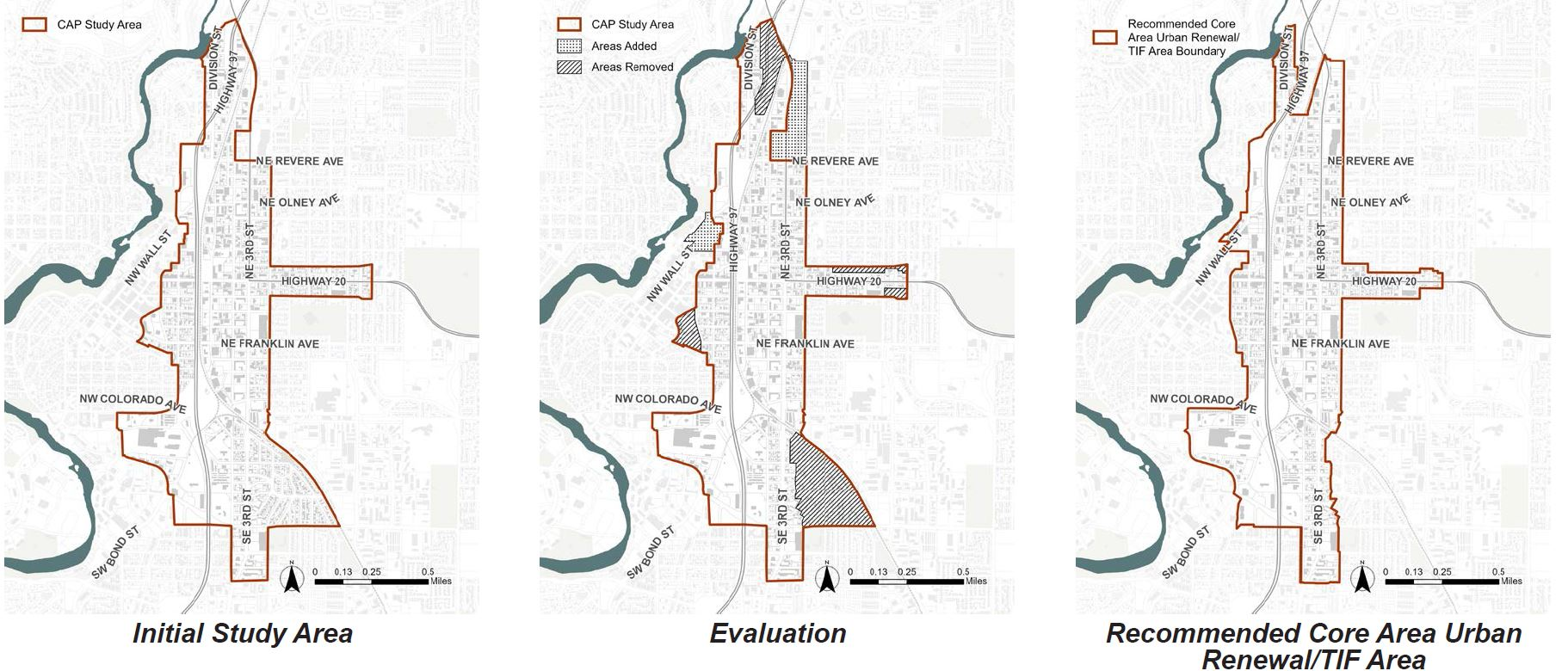 Three maps that show progression of Core Area planning process from an initial study area to an evaluation to add or remove areas and a final recommended boundary that is 30 acres smaller than the original study area.