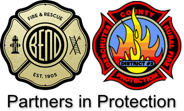 Bend Fire & Rescue Logo and DCRFPD#2 Logo - Partners in Protection