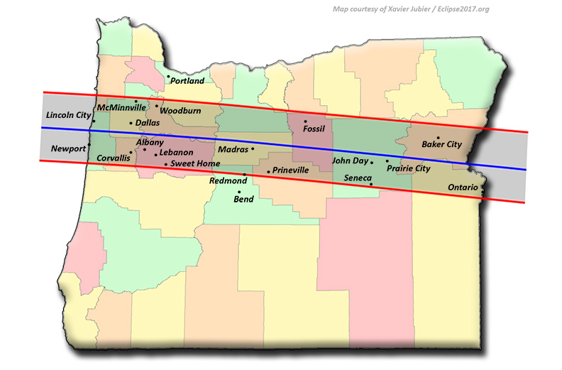 Map of Oregon showing path of the eclipse passing over the state