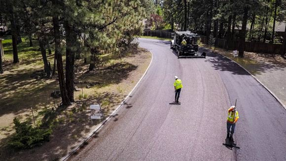 City of Bend Streets crew resurfacing a street