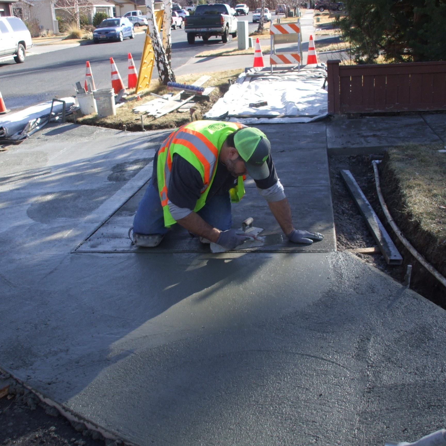 Street curb concrete work.