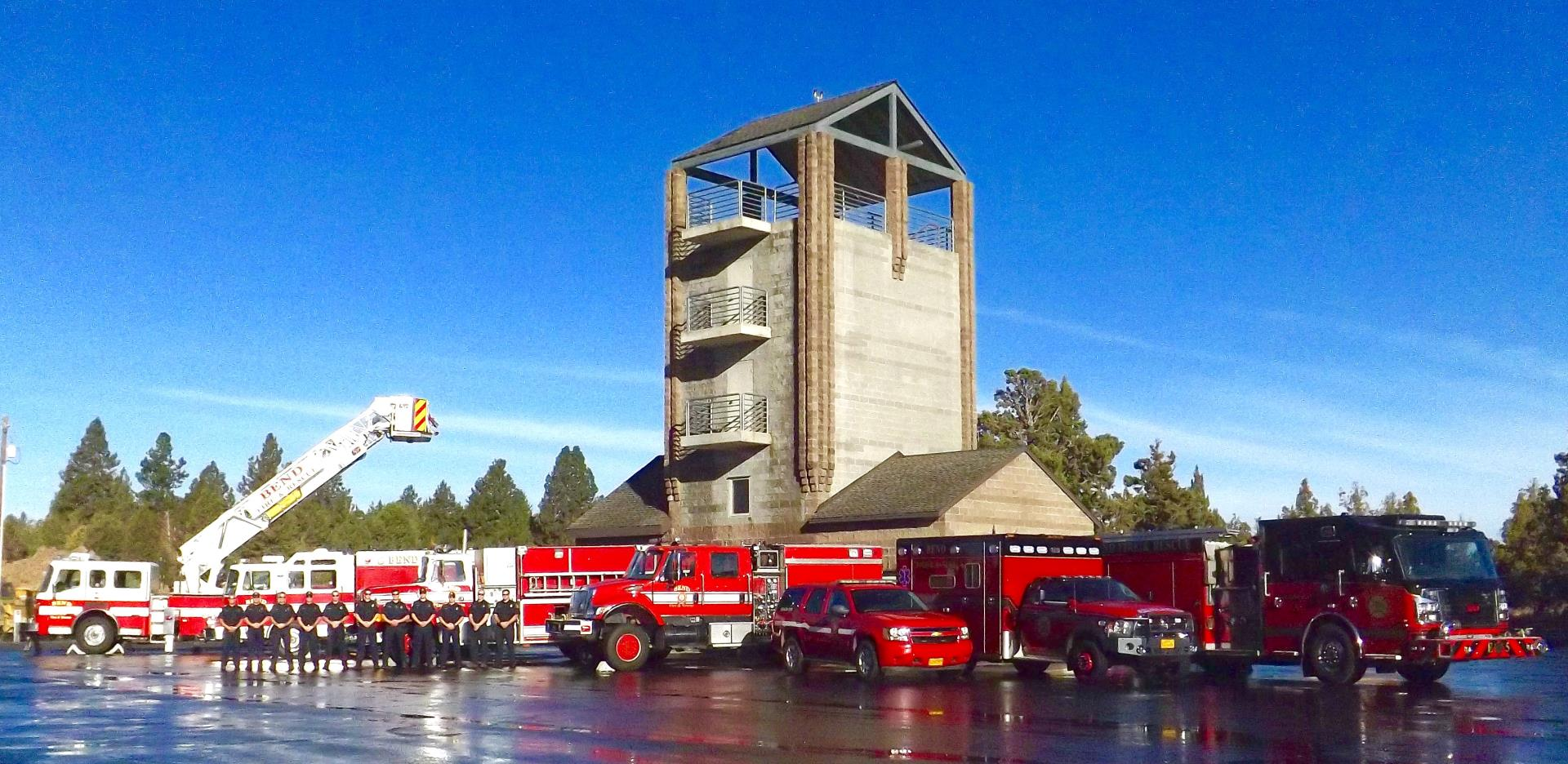 Bend Fire Department apparatus and team on training site.