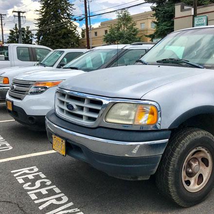 Fleet of parked City vehicles.
