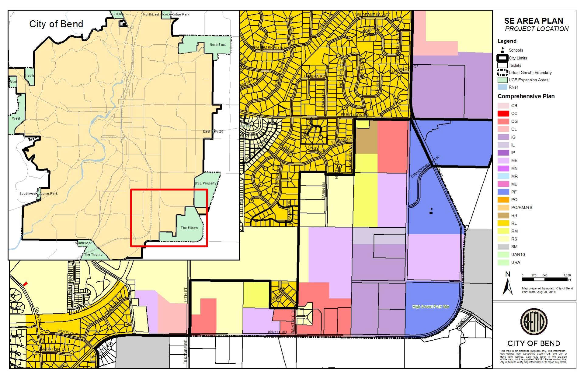 "Map of Southeast ""Elbow"" Project Area with Comprhensive Plan designations. On left side of image is a location map that shows that the southeast elbow expansion area is located in the southeast of Bend's urban growth boundary."