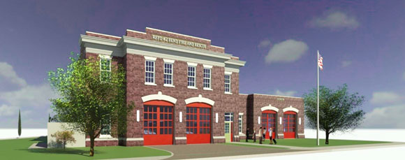 A rendering of what one of the new fire stations may look like.