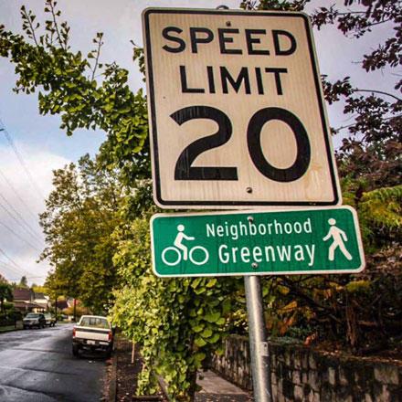 Neighborhood Greenways sign.