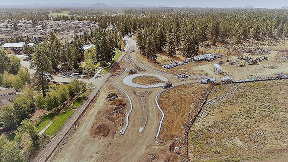 Aerial photo of Murphy Roundabout under construction.
