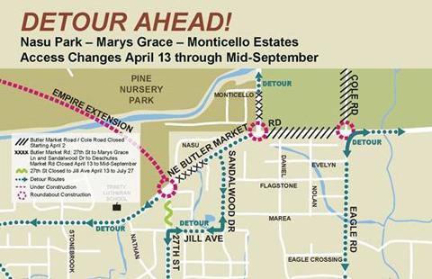 Map showing Empire Boulevard detour.